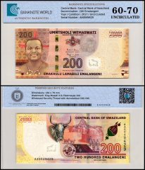 Swaziland - Eswatini 200 Emalangeni Banknote, 2017, P-43a, TAP 60-70 Authenticated