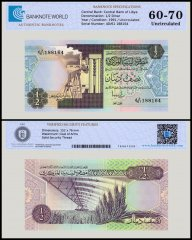 Libya 1/2 Dinar Banknote, 1991, P-58c, UNC, TAP Authenticated