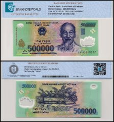 Vietnam 500,000 Dong Banknote, 2020, P-124p, UNC, TAP Authenticated