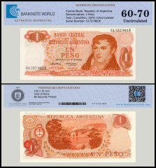 Argentina 1 Peso Banknote, 1974, P-293, UNC, TAP 60 - 70 Authenticated