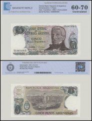Argentina 5 Pesos Banknote, 1983, P-312a, UNC, TAP 60 - 70 Authenticated