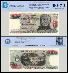 Argentina 10 Pesos Banknote, 1983, P-313, UNC, TAP Authenticated