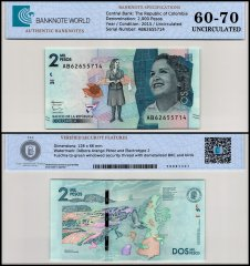 Colombia 2,000 Pesos Banknote, 2015, P-458a, UNC, TAP 60-70 Authenticated