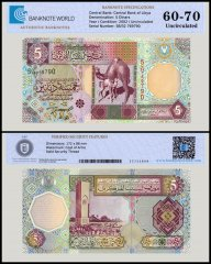 Libya 5 Dinars Banknote, 2002, P-65a, UNC, TAP Authenticated