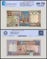 Libya 1/4 Dinar Banknote, 2002, P-62, UNC, TAP 60 - 70 Authenticated