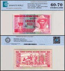 Guinea Bissau 50 Pesos Banknote, 1990, P-10a, UNC, TAP 60-70 Authenticated