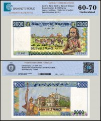 Djibouti 2,000 Francs Banknote, 2005, P-43, UNC, TAP 60-70 Authenticated