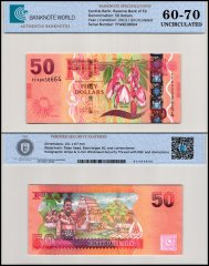 Fiji 50 Dollars Banknote, 2013, P-118a, UNC, TAP 60-70 Authenticated
