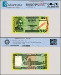 Bangladesh 20 Taka Banknote, 2014, P-55Ac, UNC, Specimen, TAP 60-70 Authenticated