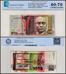 Cape Verde 1,000 Escudos Banknote, 1989, P-60a, UNC, TAP 60-70 Authenticated