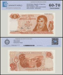 Argentina 1 Peso Banknote, 1972, P-287, UNC, TAP 60 - 70 Authenticated