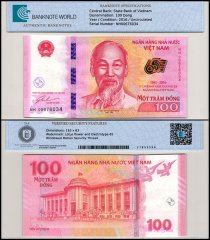 Vietnam 100 Dong Banknote, 2016, P-125, UNC, TAP 60-70 Authenticated