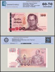 Thailand 100 Baht Banknote, 2004, P-113, UNC, TAP 60 - 70 Authenticated