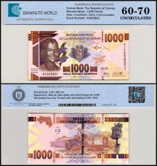 Guinea 1,000 Francs Banknote, 2015, P-48a, UNC, TAP 60-70 Authenticated