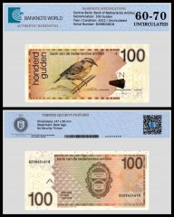 Netherlands Antilles 100 Gulden Banknote, 2012, P-31f,Serial # 8208624618, UNC, TAP 60 - 70 Authenticated