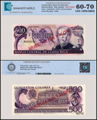 Costa Rica 500 Colones Banknote, 1979, P-249bs, Serial # 0196, UNC, Specimen, TAP Authenticated