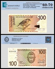 Netherlands Antilles 100 Gulden Banknote, 2016, P-31h, Serial # 8276540238, UNC, TAP 60 - 70 Authenticated