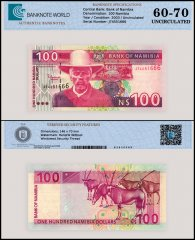 Namibia 100 Namibia Dollars Banknote, 2003, P-9a, UNC, TAP 60 - 70 Authenticated