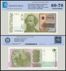 Argentina 500 Australes Banknote, 1988, P-328b, UNC, TAP 60 - 70 Authenticated