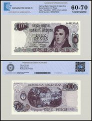 Argentina 10 Pesos Banknote, 1973-1976, P-295, UNC, TAP Authenticated