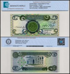 Iraq 1 Dinar Banknote, 1984, P-69c, UNC, TAP Authenticated
