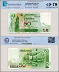 Hong Kong 50 Dollars Banknote, 2007, P-336d, UNC, TAP 60-70 Authenticated