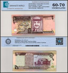 Jordan 1/2 Dinar Banknote, 1997, P-28b, UNC, TAP 60-70 Authenticated