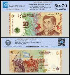 Argentina 10 Pesos Banknote, 2016, P-360, UNC, TAP 60 - 70 Authenticated