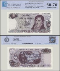 Argentina 10 Pesos Banknote, 1973, P-289, UNC, TAP Authenticated