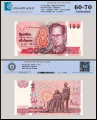 Thailand 100 Baht Banknote, 1994, P-97, UNC, TAP 60 - 70 Authenticated