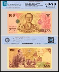 Thailand 100 Baht Banknote, 2011, P-124, UNC, TAP 60 - 70 Authenticated