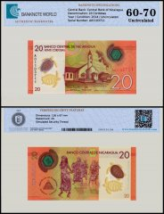 Nicaragua 20 Cordobas Banknote, 2014, P-210, UNC, TAP 60-70 Authenticated