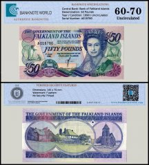 Falkland Islands 50 Pounds Banknote, 1990, P-16a, Serial # A018780, UNC, TAP 60 - 70 Authenticated