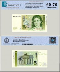 Germany 5 Deutsche Mark Banknote, 1991, P-37, UNC, TAP 60 - 70 Authenticated
