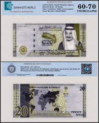 Saudi Arabia 20 Riyals, 2020, P-44a, UNC, TAP 60-70 Authenticated