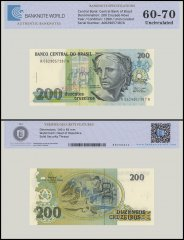 Brazil 200 Cruzado Novo Banknote, 1990, P-229, UNC, TAP Authenticated