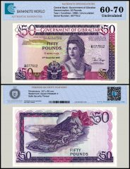 Gibraltar 50 Pounds Banknote, 1986, P-24, UNC, TAP 60 - 70 Authenticated