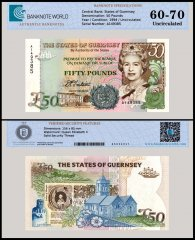Guernsey 50 Pounds Banknote, 1994, P-59, Prefix A, Serial # A149385, UNC, TAP 60 - 70 Authenticated