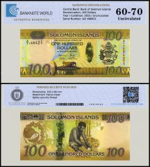 Solomon Islands 100 Dollars Banknote, 2015, P-36, UNC, TAP 60-70 Authenticated