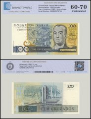 Brazil 100 Cruzados Banknote, 1987, P-211c, UNC, TAP Authenticated