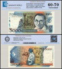 Brazil 5 Cruzados Novos on 5,000 Cruzados Banknote, 1989, P-127B, UNC, TAP Authenticated