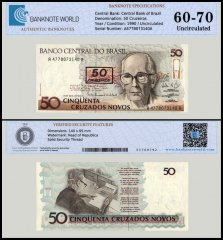 Brazil 50 Cruzeiros Banknote, 1990, P-223, UNC, TAP 60 - 70 Authenticated