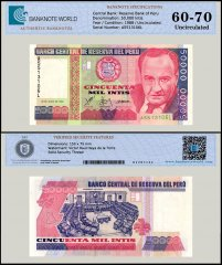 Peru 50,000 Intis Banknote, 1988, P-142, UNC, TAP 60-70 Authenticated