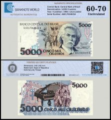 Brazil 5,000 Cruzeiros Banknote, 1993, P-232c, UNC, TAP Authenticated