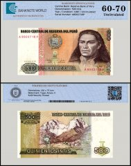 Peru 500 Intis Banknote, 1987, P-134b, UNC, TAP 60 - 70 Authenticated