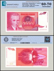 Yugoslavia 1,000 Dinara Banknote, 1992, P-114, UNC, TAP 60 - 70 Authenticated