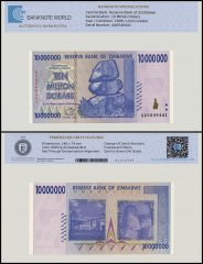 Zimbabwe 10 Million Dollar Banknote, 2008, P-78, UNC, TAP Authenticated
