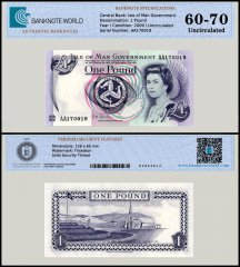 Isle of Man 1 Pound Banknote, 2009, P-40c, UNC, TAP 60 - 70 Authenticated
