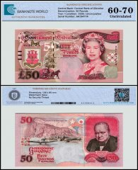 Gibraltar 50 Pounds Banknote, 2006, P-34a, Serial # AA194774, UNC, TAP 60 - 70 Authenticated