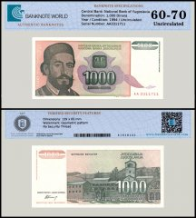 Yugoslavia 1,000 Dinara Banknote, 1994, P-140, UNC, TAP Authenticated
